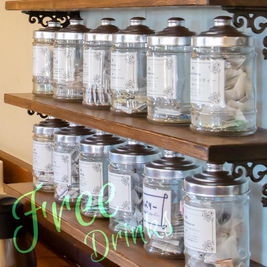 フリードリンクセットイメージ。20種類以上の紅茶も取り揃えております。